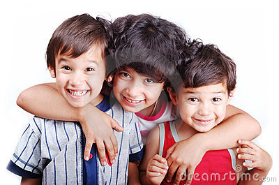 Three happy children isolated: love, care, hug,