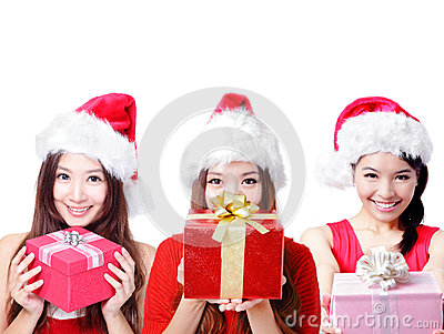 Three happy Christmas girls