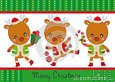 Three happy reindeers