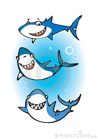 Three happy sharks