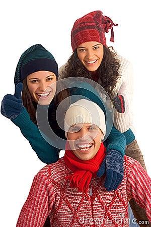 Three happy winter friends