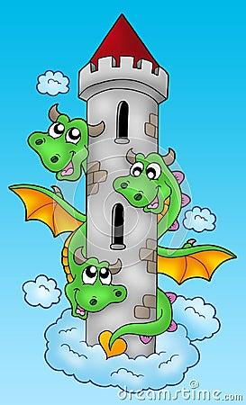 Three headed dragon on sky