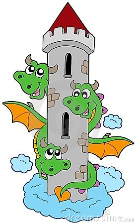 Three headed dragon with tower