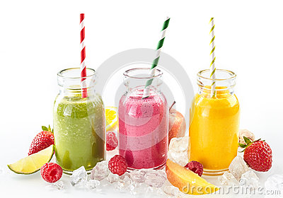 Three Healthy Smoothies With Fresh Tropical Fruit Stock Photo - Image ...