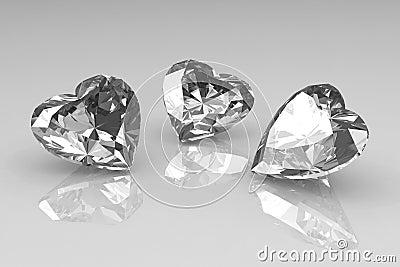 Three heart shape brilliant diamond stones