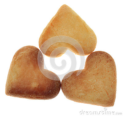 Three Heart-Shaped Cookies