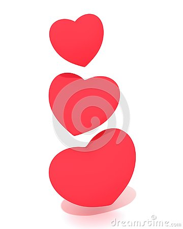 Three hearts floating in the air. Cartoon Illustration