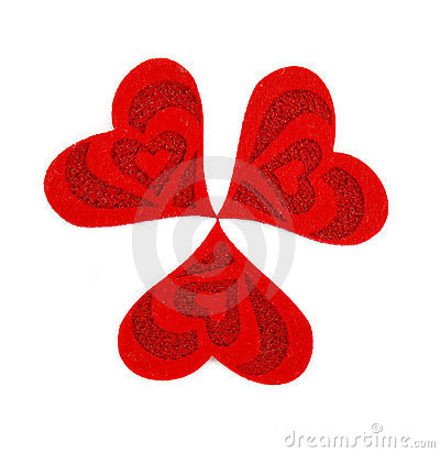 Three hearts made of cloth