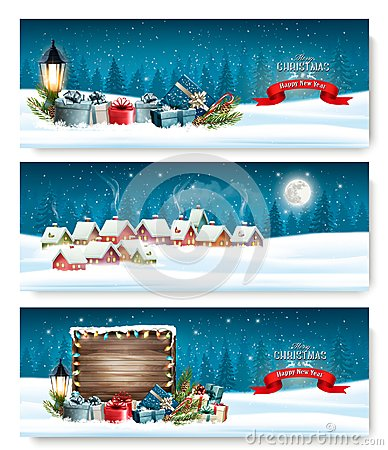 Free Three Holiday Christmas Banners With A Winter Village Royalty Free Stock Photography - 105214837