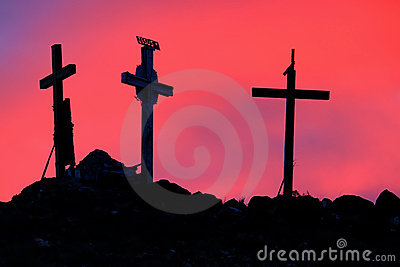 Three Holy Crosses in Sunrise