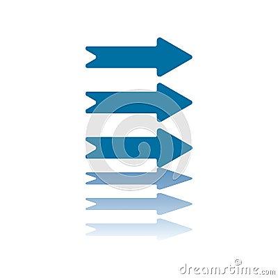 Three Horizontal Arrows Right