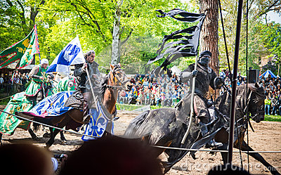 Three horsemen on the medieval festival Editorial Photo