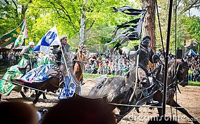 Three horsemen on the medieval festival Editorial Photo