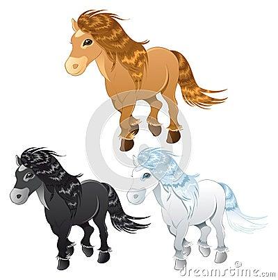 Three horses or pony