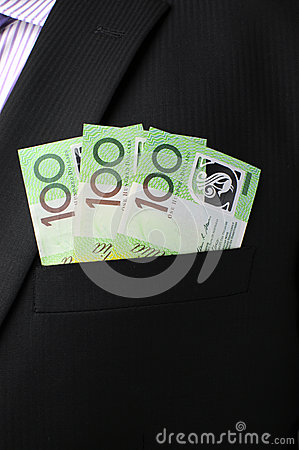 Three hundred dollar notes in suit pocket - vertical.