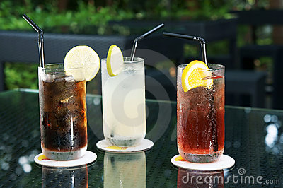 Three ice cold drinks