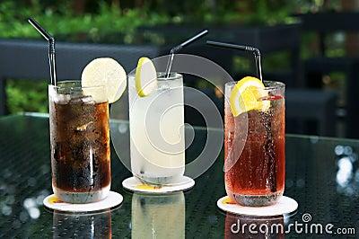 Three ice cold drinks