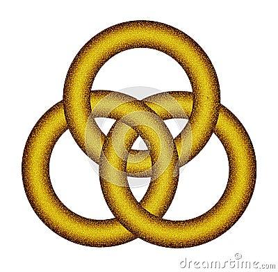 Three Interlocking Gold Rings Celtic Knot Stock Photo