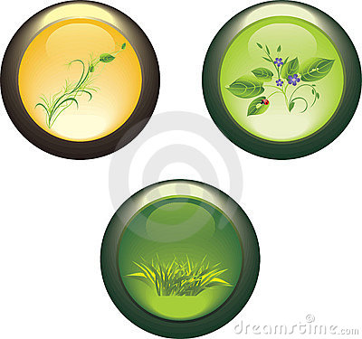 Three isolated buttons with spring compositions