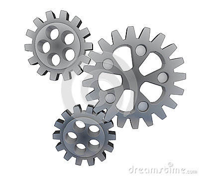 Three isolated cogwheels in action