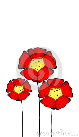 Three isolated colorful red flowers