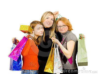 Three isolated girls out for shopping