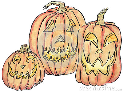 Three Jack-o-lanterns Illustration