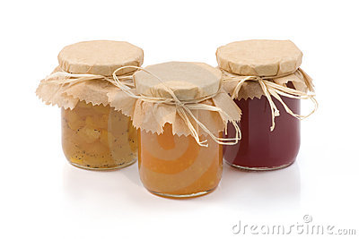 Three jars of homemade jam