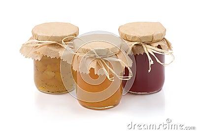 Three jars of homemade jam