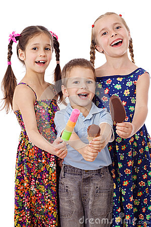 Three kids with ice cream
