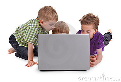 Three kids with laptop