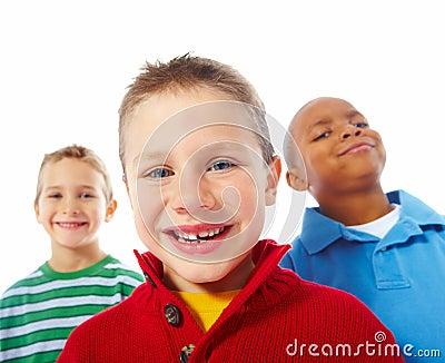Three kids over white background
