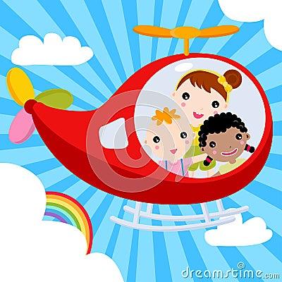 Three kids piloting an airplane across the sky