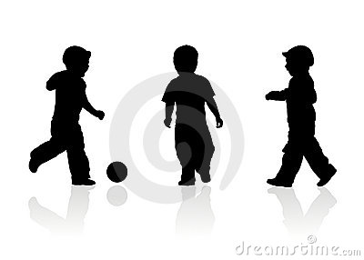 Three kids play ball