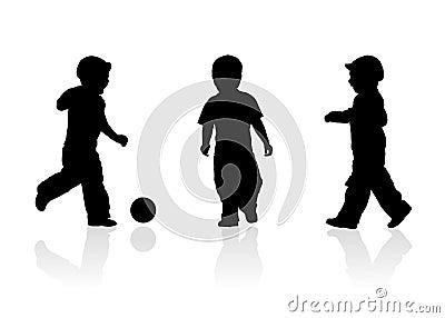 Three kids play ball