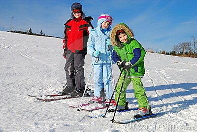 Three Kids on Skis