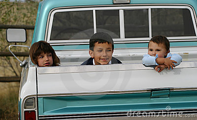Three Kids in Truck