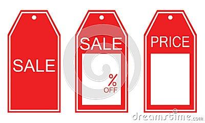 Three kind of red sale tags