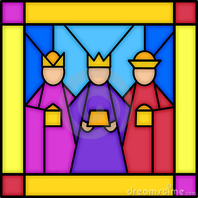 Free Three Kings In Stained Glass Royalty Free Stock Photos - 364428
