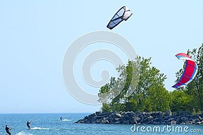 Three Kite Surfers