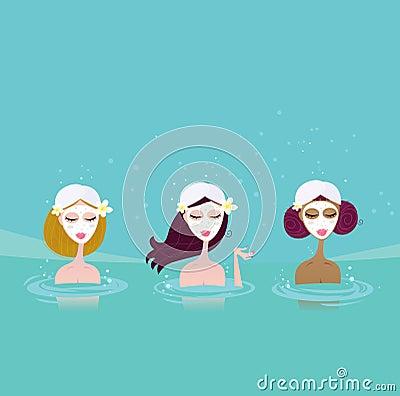 Three ladies in water spa