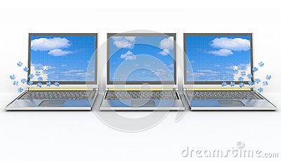 Three laptops with a screen from puzzle