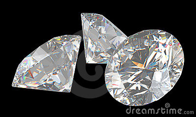 Three large brilliant cut diamonds