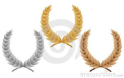 Three laurel wreaths