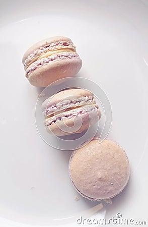Three lavender macarons