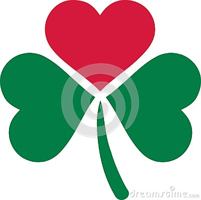 Three leaf clover with on leaf as a heart Vector Illustration