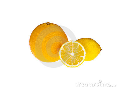 Three lemons on white