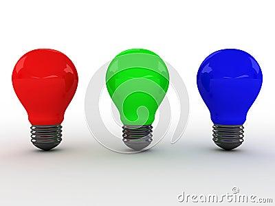 Three light bulbs with RGB colors. 3D image