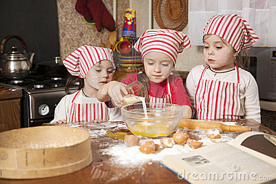 Three little chefs the kitchen