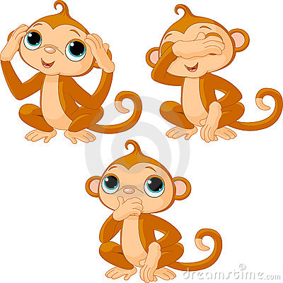 Free Three Little Monkeys Royalty Free Stock Photo - 18008065
